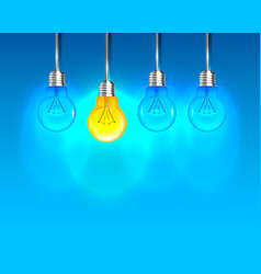 lamp creative idea on the blue background vector image
