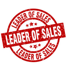 leader of sales round red grunge stamp vector image