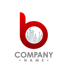 letter b icon technology smart logo computer and vector image