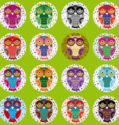 little funny owls on green background vector image