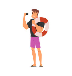 Male lifeguard with lifebuoy taking selfie photo vector