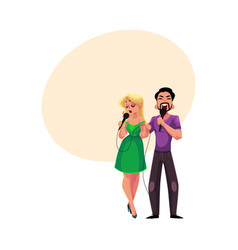 man and woman singing into microphones karaoke vector image