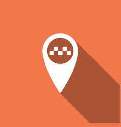 map pointer with taxi icon with long shadow vector image
