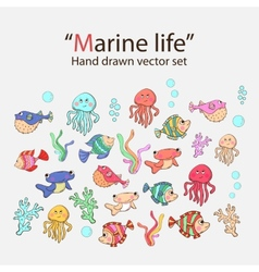 marine life hand drawn set vector image