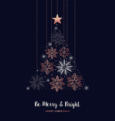 merry christmas copper snowflake pine tree card vector image