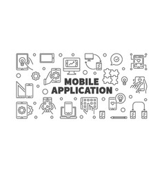 mobile application concept simple banner vector image