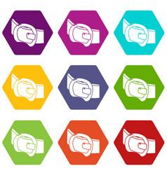 Modern belt icons set 9 vector