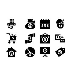 money template solid icon set vector image