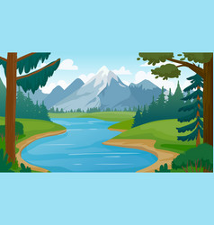 mountain and lake landscape cartoon rocky vector image