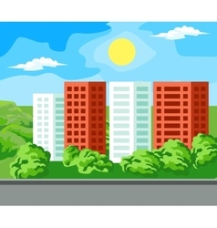 Multi-storey house landscape vector