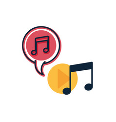 music note with speech bubble isolated icon vector image