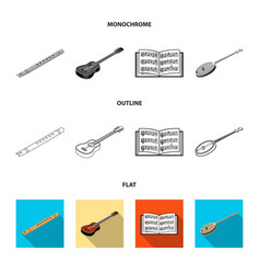 Musical instrument flatoutlinemonochrome icons vector