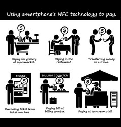 Paying with phone nfc technology stick figure vector