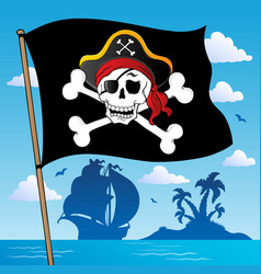 pirate banner theme 2 vector image