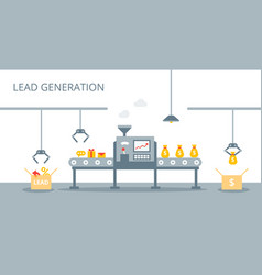 process of leads production on the conveyor belt vector image
