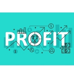 Profit concept flat line design with icons and vector