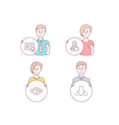 Quiz test woman read and diploma icons download vector