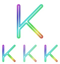 Rainbow line k logo design set vector image