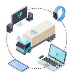 real time tracking for cargo trucks isometric vector image