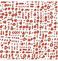 red and white abstract drawn cryptic symbols vector image