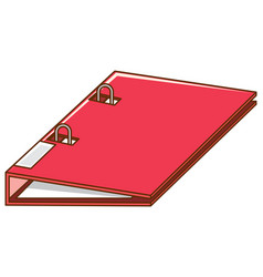 Ring binder in red color on white background vector