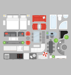 set furniture top view vector image