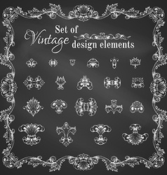 Set of chalk retro page decorations and dividers vector