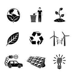 Set of ECOLOGY icons with - recycle sign green vector image