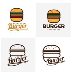 Set of food burger logo burger emblem design vector