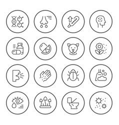 set round line icons allergy vector image