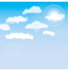 shining sun behind the clouds vector image
