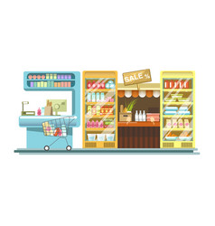 Shop counters of supermarket store product stands vector