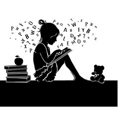 Silhouette cute little girl reading book with vector