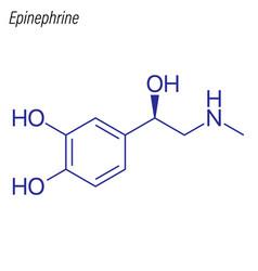 Skeletal formula epinephrine drug chemical vector