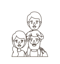 Sketch contour caricature half body family parents vector
