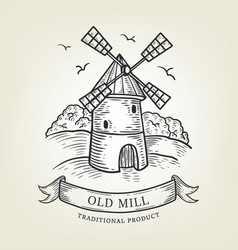 sketch of farm with windmill vector image