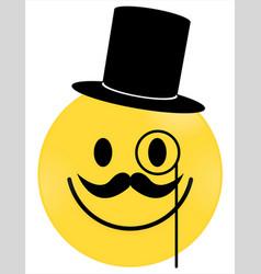 smiley face yellow gentleman vector image