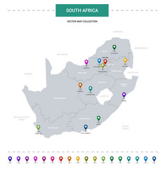 South africa map with location pointer marks vector