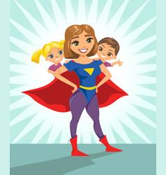 super hero super mom happy smiling super mother vector image