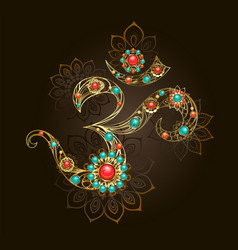symbol om with turquoise vector image