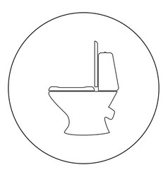 Toilet bowl icon black color in circle vector