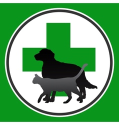veterinary symbol with dog and cat vector image