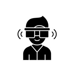 virtual reality glasses black icon sign on vector image