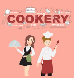 Waitress and cookery with food icons design vector