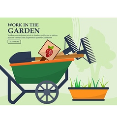 Wheelbarrow with garden tools and a long pot vector
