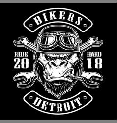 With gorilla biker vector
