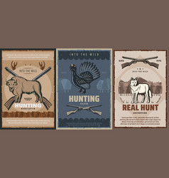 Wolf buffalo grouse hunting animals hunter guns vector
