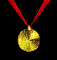 Yellow golden medal vector