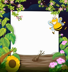 A bee and a white board vector image vector image