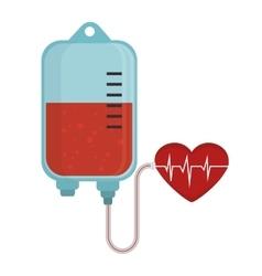 bag blood donation heart pulse vector image